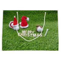 Golfer Christmas Holiday with golf ball and Santa Large Gift Bag