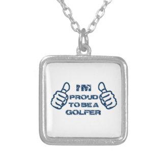Golfer design square pendant necklace