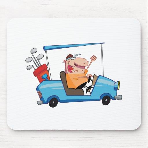 Golfer-drives-golf-cart Mouse Pads