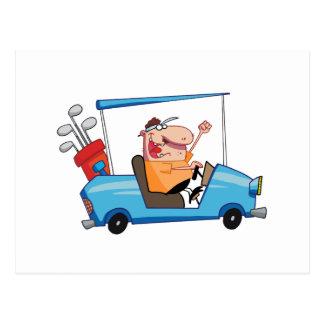 Golfer-drives-golf-cart Postcard