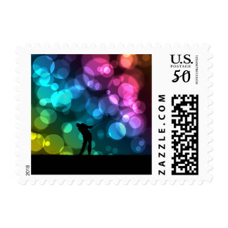 Golfer Driving Bokeh Graphic Postage