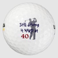 Golfer Driving Hard at 40 Golf Balls
