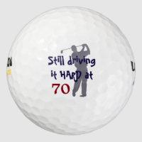 Golfer Driving Hard at 70 Golf Balls