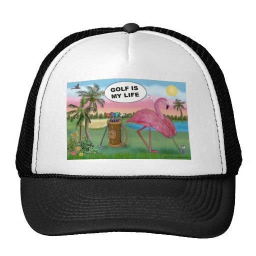 Golfer Flamingo - Golf is my life Hats