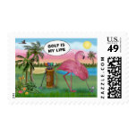 Golfer Flamingo - Golf is my life Postage Stamps