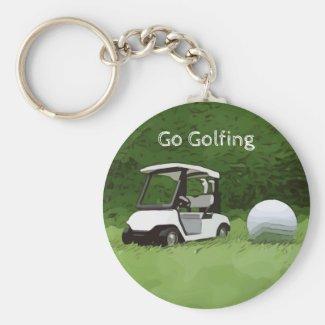 Golfer go golfing with golf buggy cart on green keychain