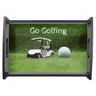 Golfer go golfing with golf buggy cart on green serving tray