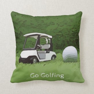 Golfer go golfing with golf buggy cart on green throw pillow