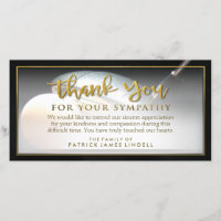 Golfer Golden Thank You For Your Sympathy Card