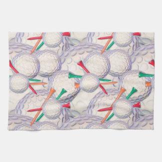 Golfer; Golf Balls & Tees Pattern Kitchen Towel