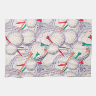 Golfer; Golf Balls & Tees Pattern Kitchen Towels