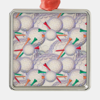 Golfer; Golf Balls & Tees Pattern Christmas Ornament