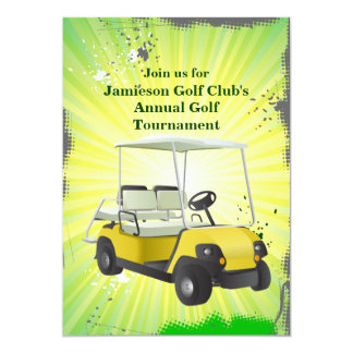 "Golfer Golf Cart Golfing Tournament Invitation 5"" X 7"" Invitation Card"