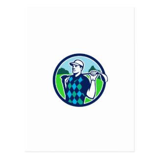 Golfer Golf Club Shoulders Circle Retro Postcard