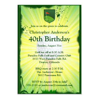 Golfer Golf Golfing 40th Birthday Invitation