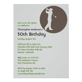 Golfer Golf Golfing  50th Birthday Card