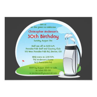 Golfer Golf Golfing Bag and Clubs 30th Birthday Card
