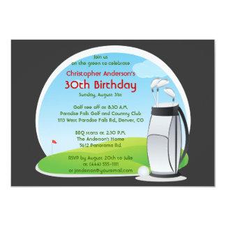 Golfer Golf Golfing Bag and Clubs 30th Birthday Card