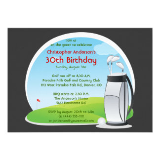 Golfer Golf Golfing Bag and Clubs 30th Birthday Announcements
