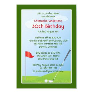 Golfer Golf Golfing Ball and Flag 30th Birthday Card