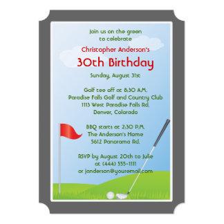 Golfer Golf Golfing Ball and Flag 30th Birthday 5x7 Paper Invitation Card