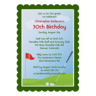 Golfer Golf Golfing Ball and Flag 30th Birthday Personalized Invitations