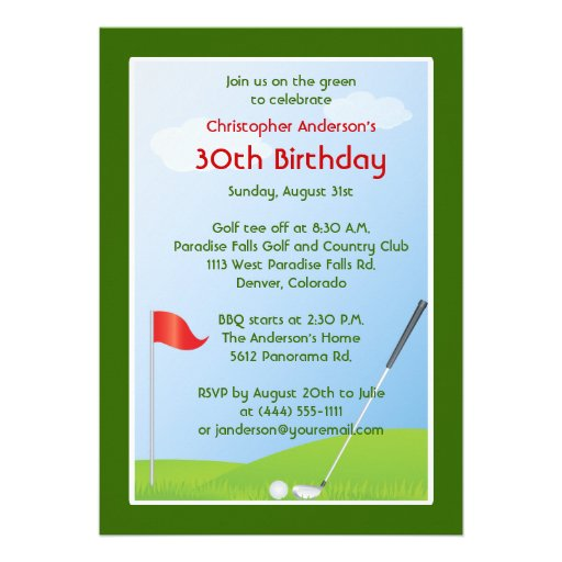 Golfer Golf Golfing Ball and Flag 30th Birthday Announcement