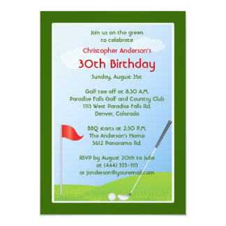 "Golfer Golf Golfing Ball and Flag 30th Birthday 5"" X 7"" Invitation Card"