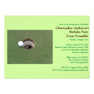 Golfer Golf Golfing Birthday party Personalized Announcements
