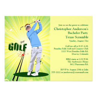 Golfer Golf Golfing Green bachelor party Personalized Announcements
