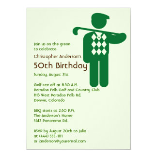 Golfer Golf Golfing Green Brown 50th Birthday Card