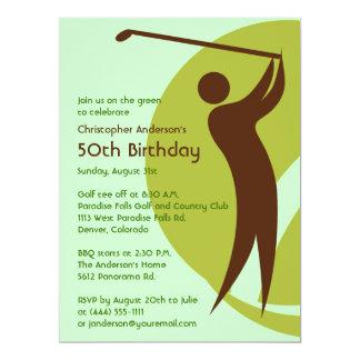 Golfer Golf Golfing Green Brown 50th Birthday Card