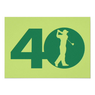 Golfer Golf Green 40th Birthday Invitation