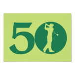 Golfer Golf Green 50th Birthday Invitation