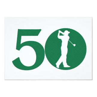 Golfer Golf Green White 50th Birthday Invitation