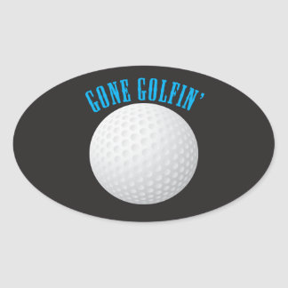 Golfer Gone Golfing Golf Ball Oval Sticker