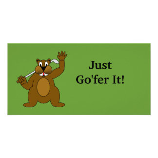 Golfer Gopher Just Go'fer It! Customized Photo Card