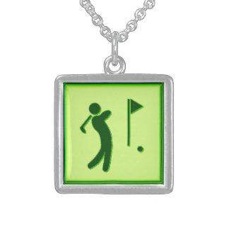 Golfer - GreenBkg Square Pendant Necklace