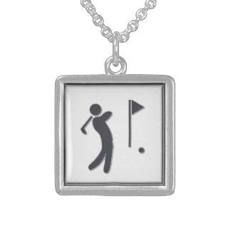 Golfer-GreyBkg Square Pendant Necklace