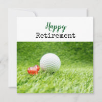 Golfer Happy Retirement with golf ball on green