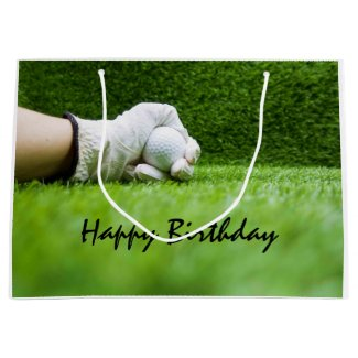 Golfer hold golf ball on green grass birthday large gift bag