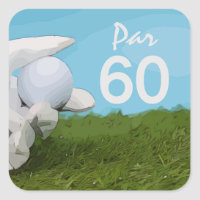 Golfer holds golf ball for golfer  60th birthday square sticker