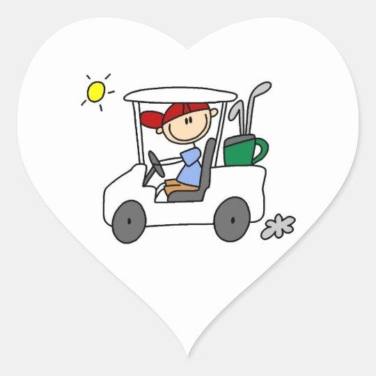 Golfer in Golf Cart Heart Sticker