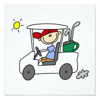Golfer in Golf Cart 5.25x5.25 Square Paper Invitation Card