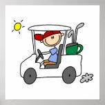 Golfer in Golf Cart Poster