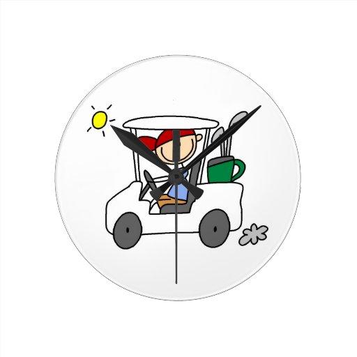 Golfer in Golf Cart Round Clock