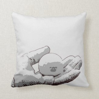 Golfer is holding golf ball on dual color throw pillow