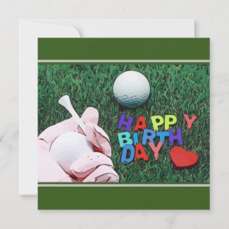 Golfer is holding tee and golf ball Happy birthday