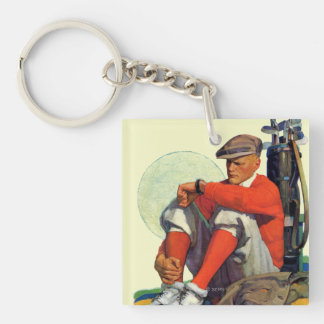 Golfer Kept Waiting Double-Sided Square Acrylic Keychain