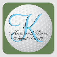 Golfer Monogram Elegant Golf 3d Wedding Favor Square Sticker